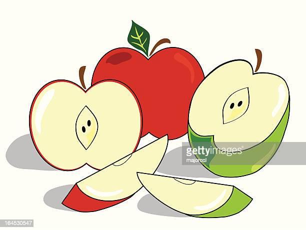 赤と緑のりんご