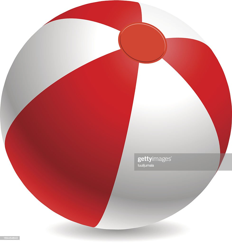 Red and white beach ball