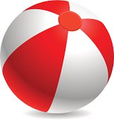 Red and white beach ball