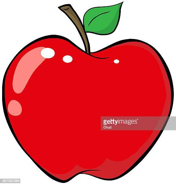 red apple - cartoon desserts stock illustrations