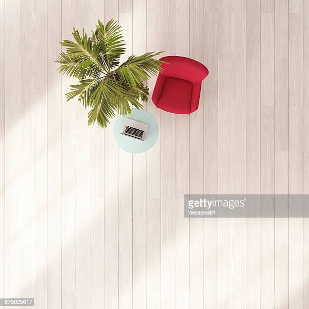 Red armchair, palm, table with laptop, 3D Rendering
