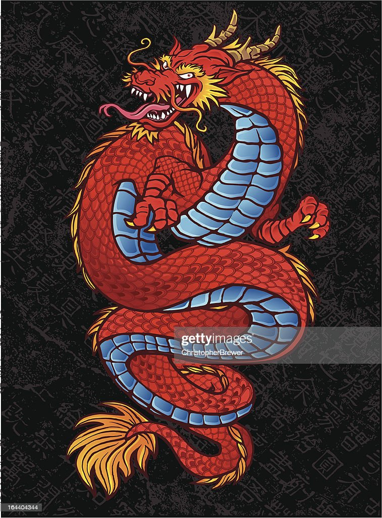 Red Asian Dragon Tattoo