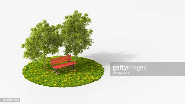 ilustraciones, imágenes clip art, dibujos animados e iconos de stock de red bench under oak trees on grass - fondo blanco