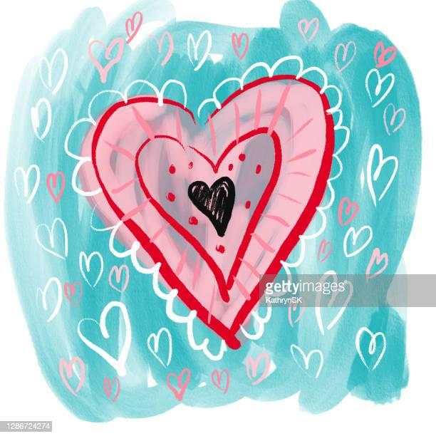 red black heart design - kathrynsk stock illustrations