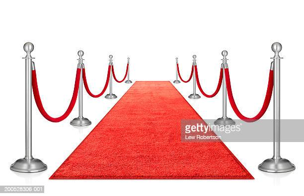 Red carpet and stanchions, against white background