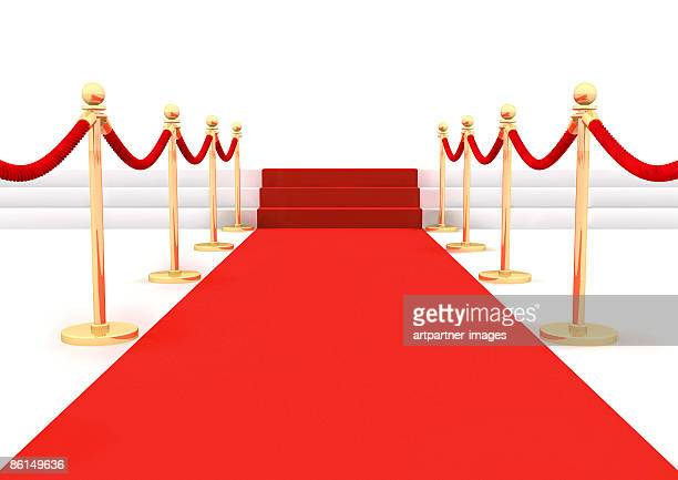 red carpet with ropes or twines - front view stock illustrations
