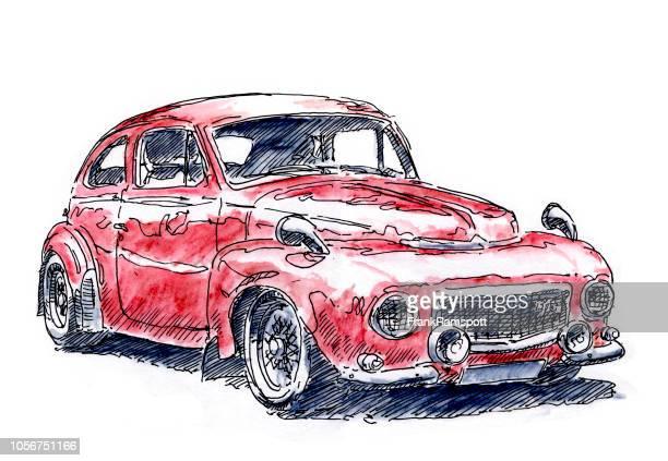 Roten Europäische Oldtimer Tinte, Zeichnung und Aquarell