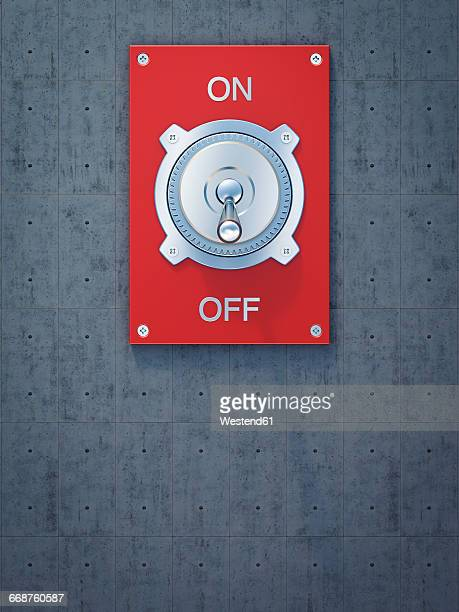 red flip switch, on, off, 3d rendering - switch stock illustrations, clip art, cartoons, & icons
