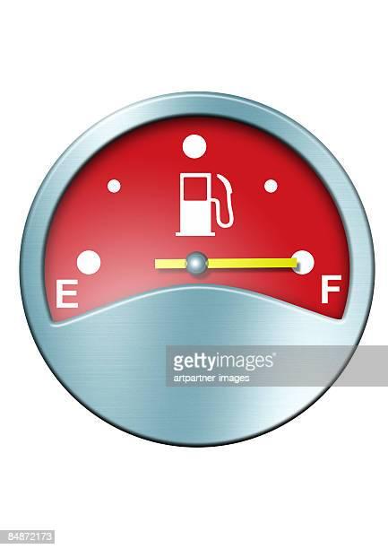 red fuel gauge on full - instrument of measurement stock illustrations