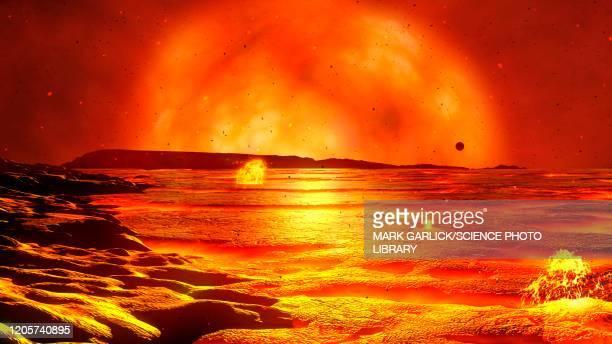 red giant sun, illustration - prehistoric era stock illustrations