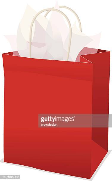 red gift bag with tissue paper - goodie bag stock illustrations, clip art, cartoons, & icons