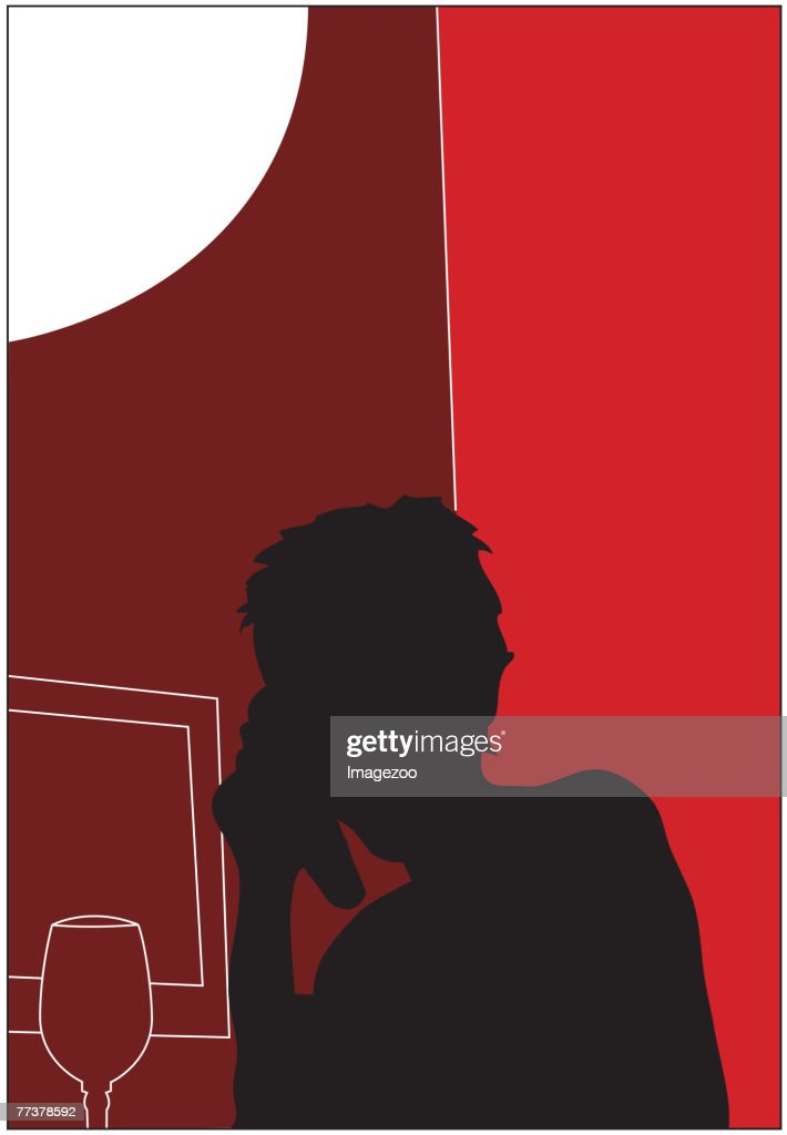 red girl on cell phone : Illustration