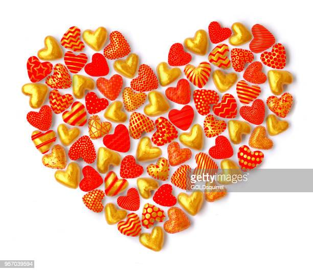 3d red gold heart shapes composition formed into the shape of a large heart isolated on white background - creative card design illustration - mothers day text art stock illustrations