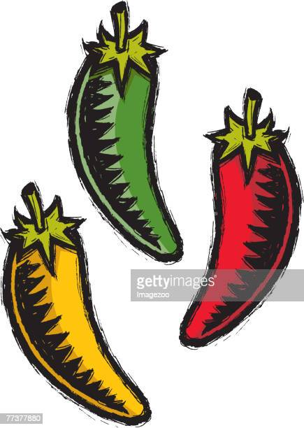 red, green, and yellow chili peppers - red chili pepper stock illustrations, clip art, cartoons, & icons
