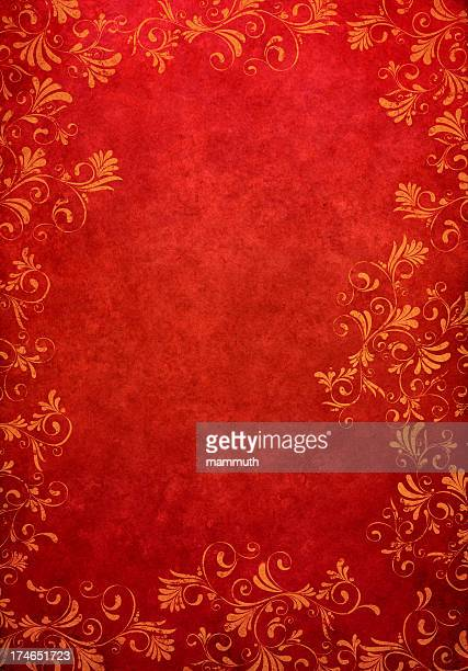 red grunge floral background - run down stock illustrations, clip art, cartoons, & icons