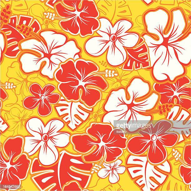 red hawaiian pattern - textile industry stock illustrations