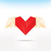 Red heart origami paper with wings on light background
