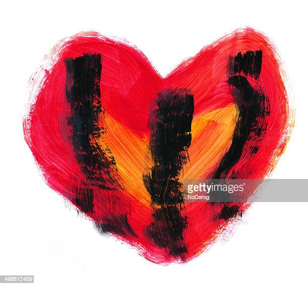 red heart watercolor with black streaks. - goth stock illustrations, clip art, cartoons, & icons