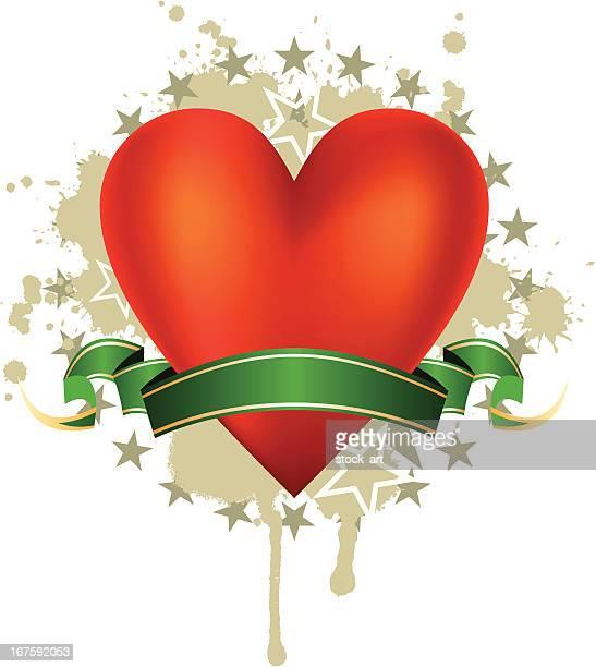赤色、緑色ストライプ中心に、星 - heart shape点のイラスト素材/クリップアート素材/マンガ素材/アイコン素材