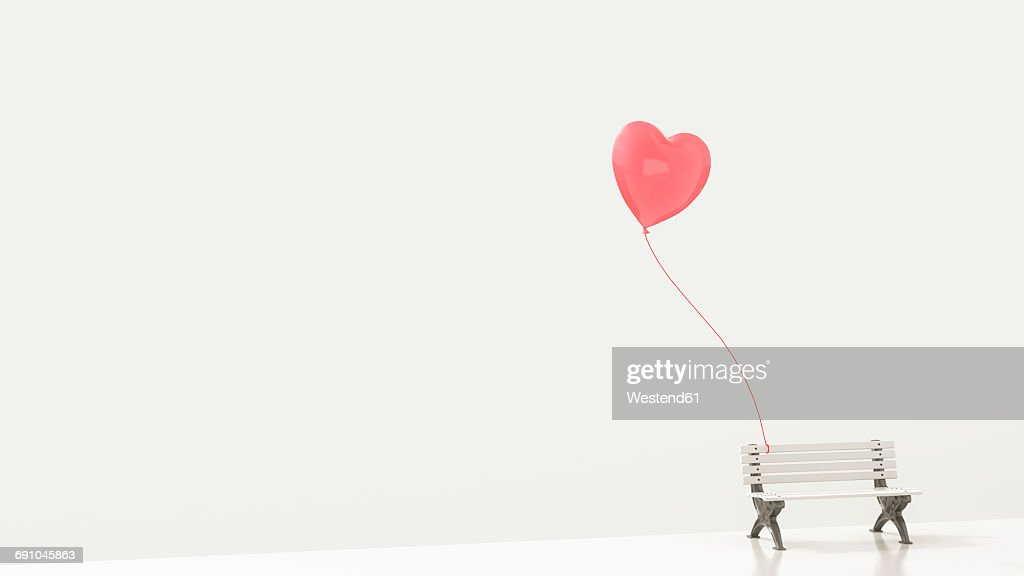 Red heart-shaped balloon attached to white bench, 3d rendering : Ilustración de stock
