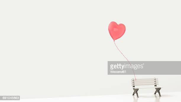 illustrations, cliparts, dessins animés et icônes de red heart-shaped balloon attached to white bench, 3d rendering - ballon de baudruche
