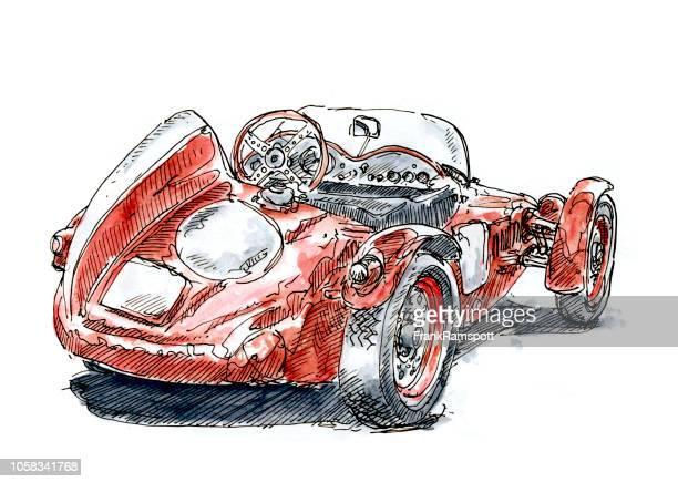 Rote italienische klassische Rennwagen Tinte, Zeichnung und Aquarell
