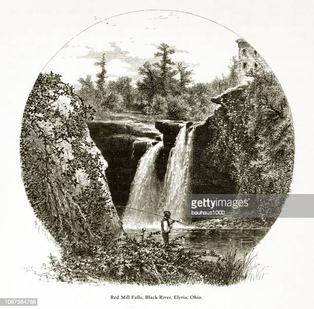 red mill falls, black river near elyria, ohio, united states, american victorian engraving, 1872 - lake erie stock illustrations, clip art, cartoons, & icons