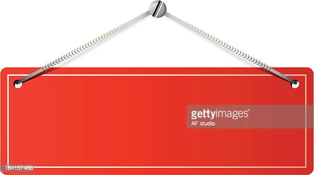 red plaque - hanging sign stock illustrations