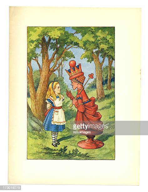 red queen illustration, (alice's adventures in wonderland) - queen royal person stock illustrations, clip art, cartoons, & icons
