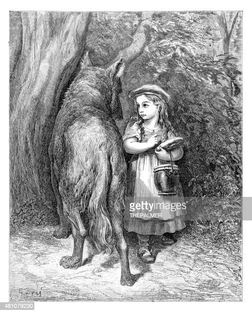 red ridding hood and the wolf - little red riding hood stock illustrations, clip art, cartoons, & icons
