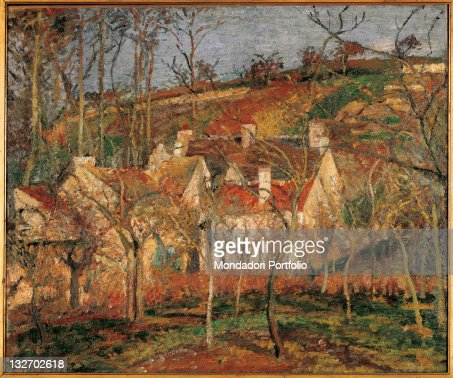Red Roofs Corner Of A Village Winter By Camille Pissarro