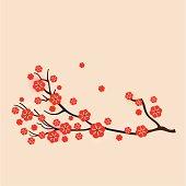 Red sakura floral background
