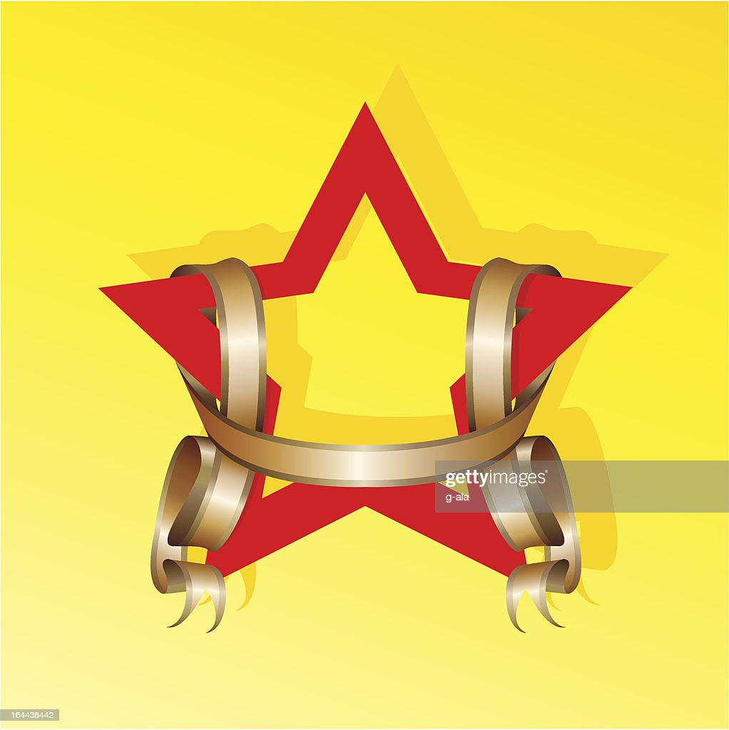 red Star and gold ribbon on a yellow background