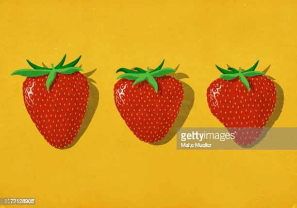 ilustrações, clipart, desenhos animados e ícones de red strawberries on vibrant yellow background - morango