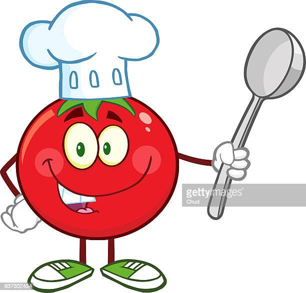red tomato chef cartoon character holding a spoon - chef stock illustrations