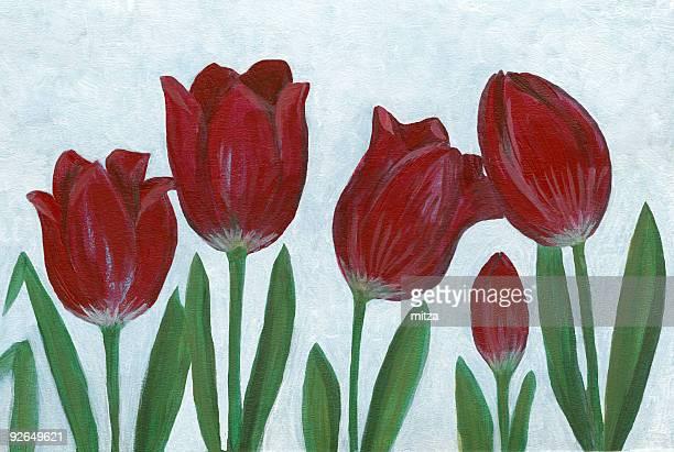 Red Tulip Arrangement on white