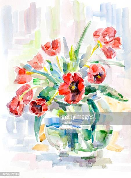 red tulip flowers - watercolor - vase stock illustrations, clip art, cartoons, & icons