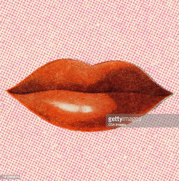 red woman's lips - mouth stock illustrations, clip art, cartoons, & icons