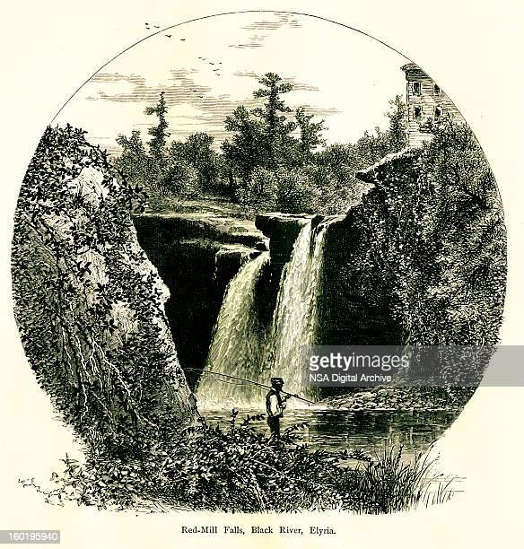 red-mill falls, black river, elyria, ohio - lake erie stock illustrations, clip art, cartoons, & icons
