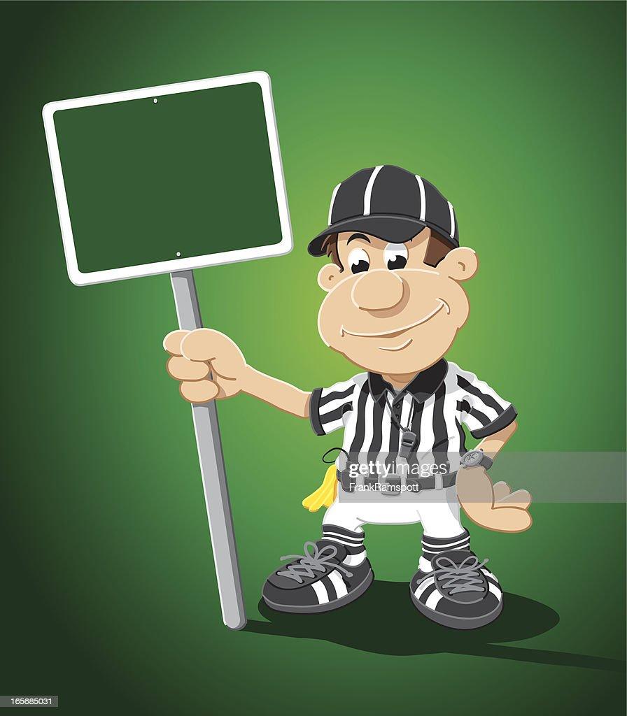 Referee Cartoon Man Blank Green Sign : stock illustration