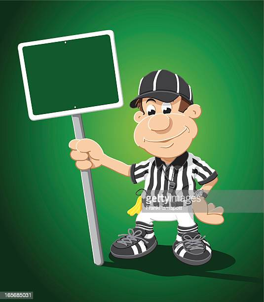Referee Cartoon Man Blank Green Sign
