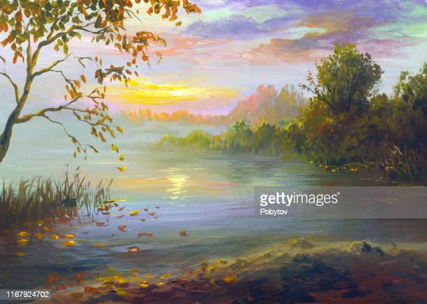 reflection of sunset in the river on a warm autumn evening, painting - horizontal stock illustrations