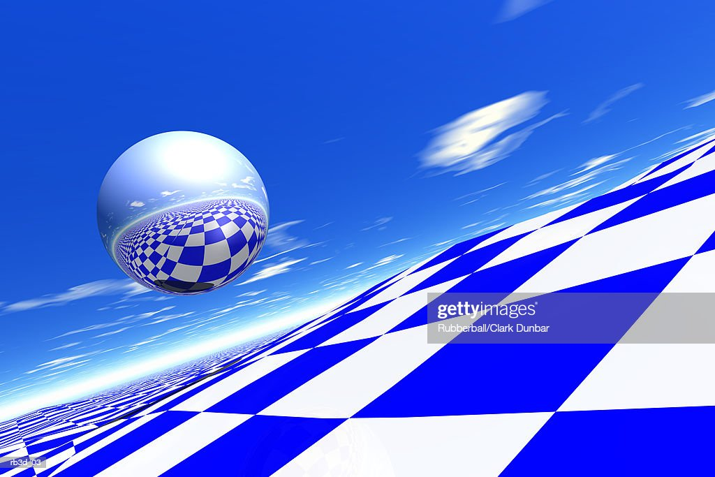 reflective metallic sphere float above blue and white chess board landscape : Stockillustraties
