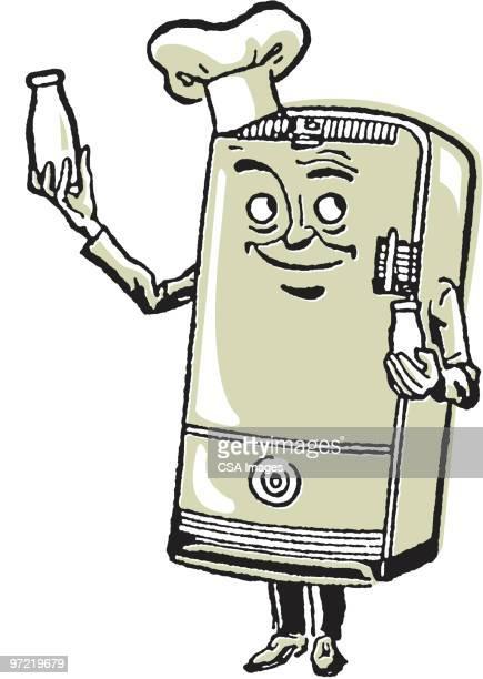refrigerator - anthropomorphic foods stock illustrations, clip art, cartoons, & icons