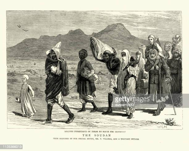 Refugees of the Mahdist War leaving Tokar, Sudan, 1884