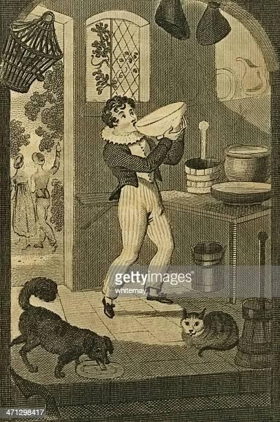 ilustraciones, imágenes clip art, dibujos animados e iconos de stock de regency boy greedily roba un tazón de crema (c1830 grabado - stealth