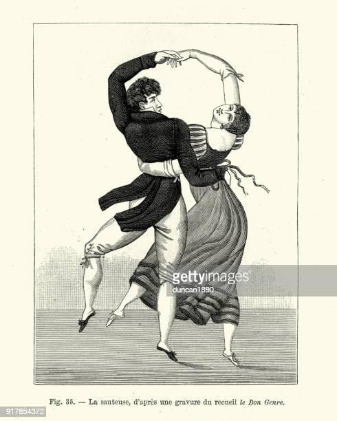 stockillustraties, clipart, cartoons en iconen met regency dansen, jong koppel dansen de sauteuse - gewalt