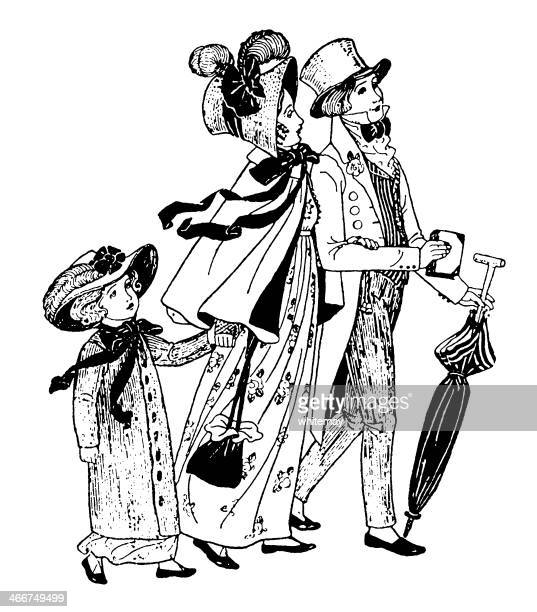 regency era family walking to church - sunday best stock illustrations, clip art, cartoons, & icons