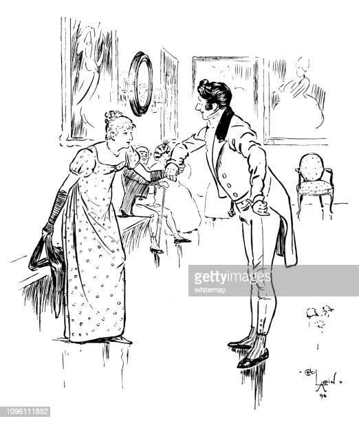 彼と、カドリールを踊れる女性を求めてリージェンシー時代男 - リージェンシー様式点のイラスト素材/クリップアート素材/マンガ素材/アイコン素材
