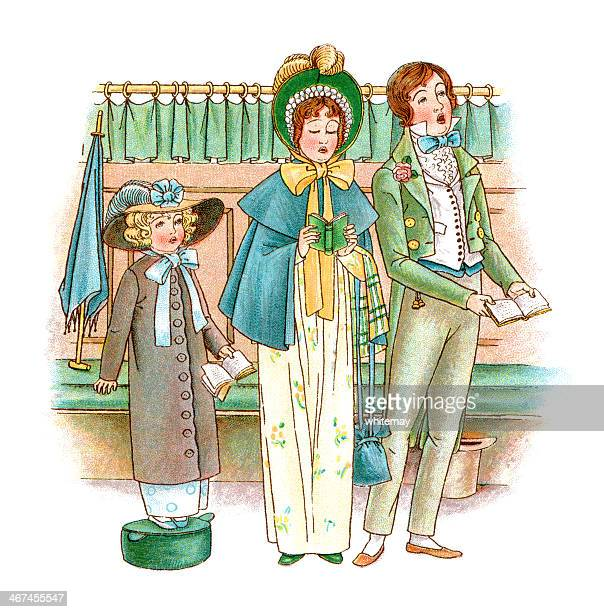 regency era parents and daughter singing hymns in church - sunday best stock illustrations, clip art, cartoons, & icons